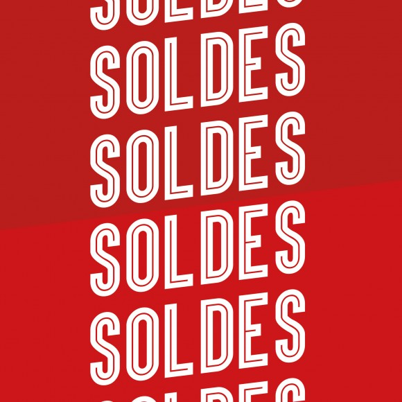 2 affiches  » Soldes impact  » pour vitrine magasin