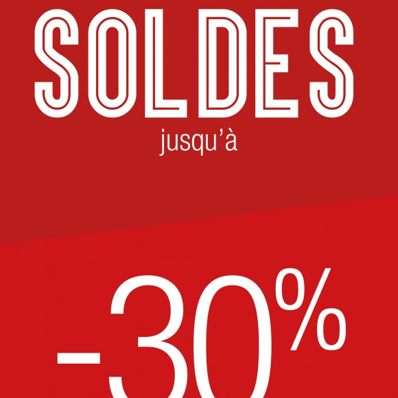 2 affiches  » Soldes -XX%  » pour vitrine magasin